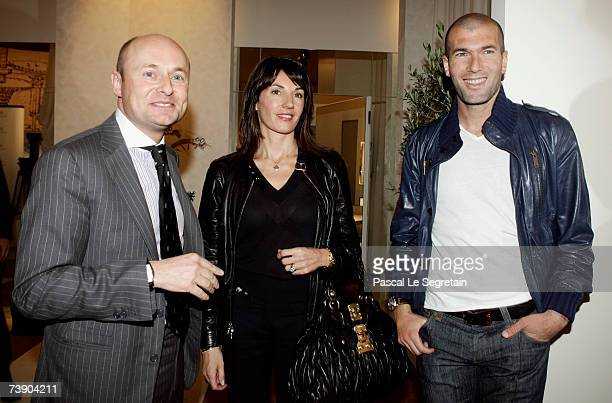 Georges Kern CEO IWC Schaffhausen Zinedine Zidane and his wife Veronique attend the IWC Da Vinci preview held at the Geneva Palaexpo on April 17 2007...