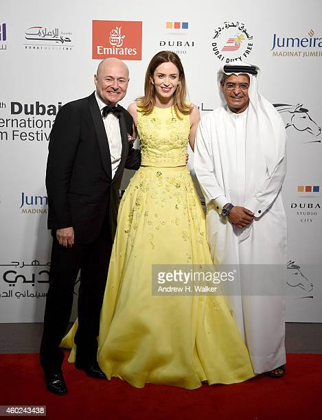 Georges Kern CEO of IWC Schaffhausen Emily Blunt and DIFF Chairman Abdulhamid Juma attend the Opening Night Gala during day one of the 11th Annual...