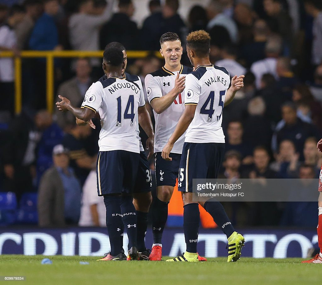 Georges Kevin Nkooudou, Kevin Wimmer and Anton Walkes of Tottenham at the end of the match during the EFL Cup Third Round match between Tottenham Hotspur and Gillingham at White Hart Lane on September 21, 2016 in London, England.
