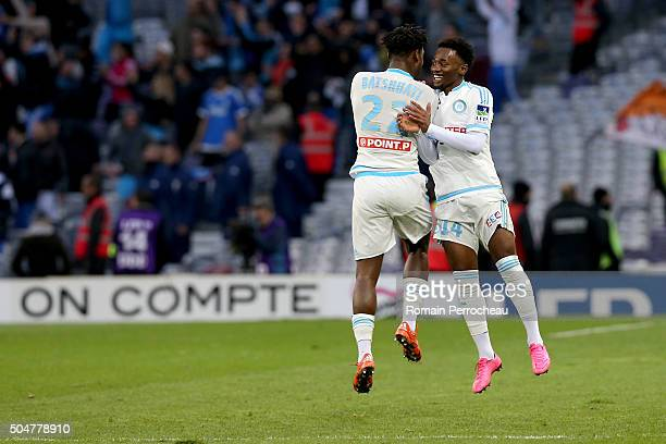 Georges Kevin Nkoudou for Marseille reacts after his goal during the French League Cup quarter final between Toulouse and Marseille at Stadium...