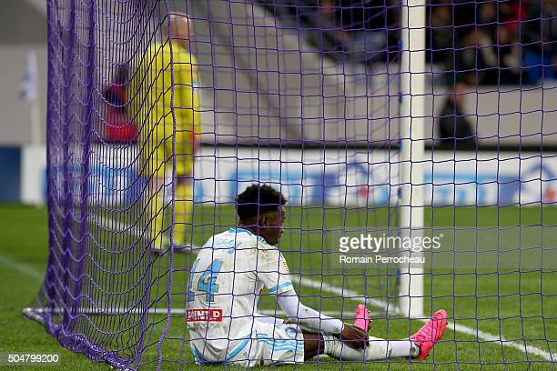 Georges Kevin Nkoudou looks on during the French League Cup quarter final between Toulouse and Marseille the French League Cup quarter final between...