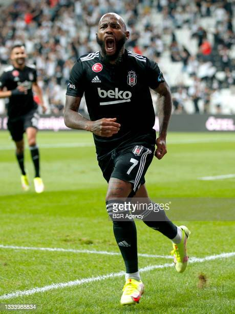 Georges Kevin Nkoudou Mbida of Besiktas celebrate 1-0 during the Super Lig match between Besiktas and Caykur Rizespor at Vodafone Park on August 13,...