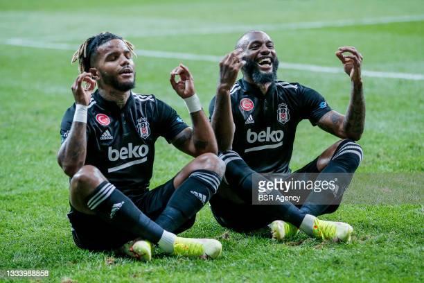Georges Kevin Nkoudou Mbida of Besiktas celebrate 1-0 with Valentin Andre Henri Rosier of Besiktas during the Super Lig match between Besiktas and...