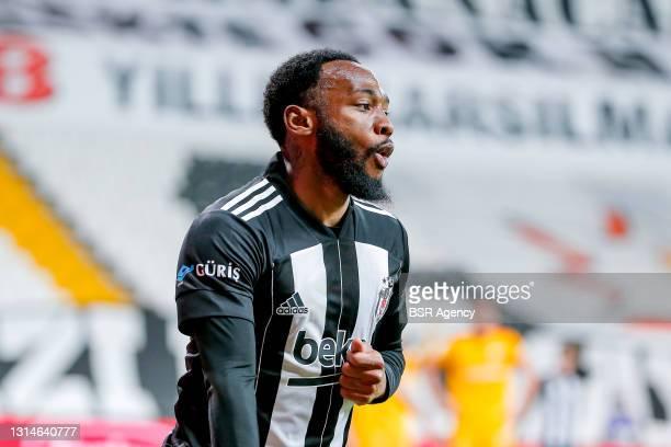 Georges Kevin Nkoudou of Besiktas celebrates his score during the Super Lig match between Besiktas and Kayserispor at Vodafone Park on April 24, 2021...