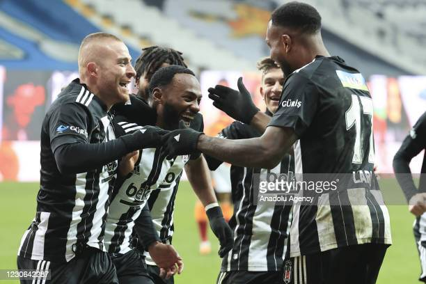 Georges Kevin Nkoudou of Besiktas celebrates with his teammates after scoring a goal during the Turkish Super Lig week 19 soccer match between...