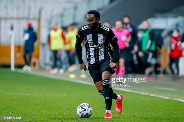 Georges Kevin Nkoudou of Besiktas controls the ball during the Super Lig match between Besiktas and Kayserispor at Vodafone Park on April 24, 2021 in...
