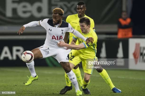 Georges Kevin N'Koudou of Tottenham Hotspur FC Thomas Foket of KAA Gent Kalifa Coulibaly of KAA Gentduring the UEFA Europa League round of 16 match...