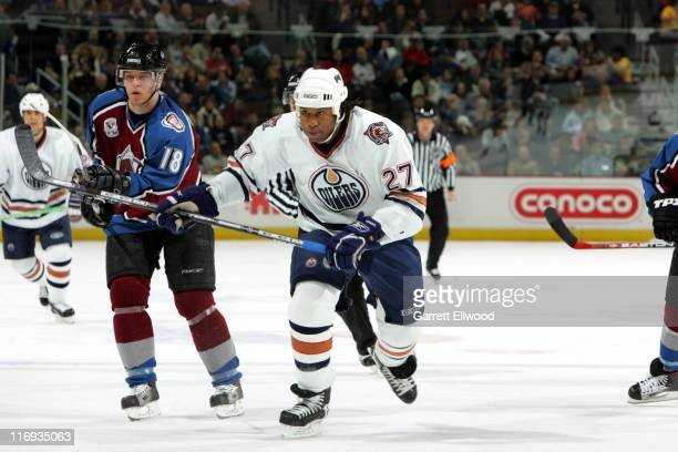 Georges Laraque of the Edmonton Oilers during the game against the Colorado Avalanche on February 7 2006 at Pepsi Center in Denver Colorado