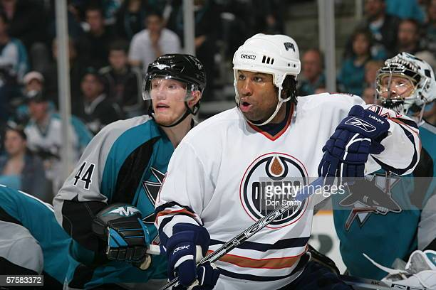 Georges Laraque of the Edmonton Oilers skates during Game 2 of the Western Conference Semifinals against the San Jose Sharks on May 8, 2006 at the HP...