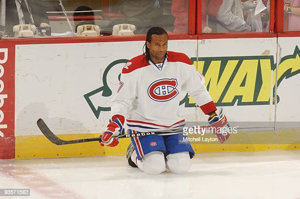 Georges Laraque of the Montreal Canadiens looks on during warm ups of a NHL hockey game against the Washington Capitales on November 20 2009 at the...