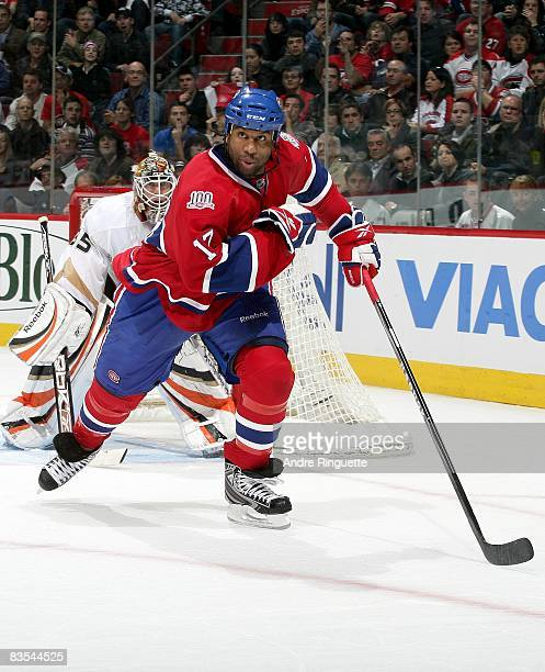 Georges Laraque of the Montreal Canadiens skates against the Anaheim Ducks at the Bell Centre on October 25 2008 in Montreal Quebec Canada