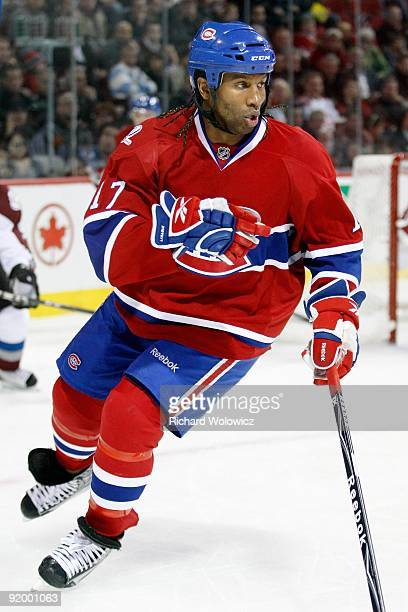 Georges Laraque of the Montreal Canadiens skates during the NHL game against the Colorado Avalanche on October 15 2009 at the Bell Centre in Montreal...