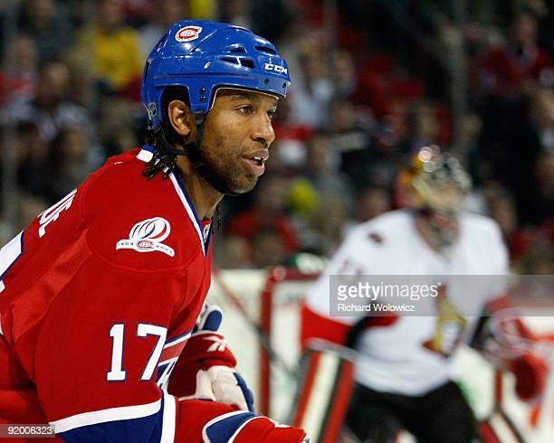 Georges Laraque of the Montreal Canadiens skates during the NHL game against the Ottawa Senators on October 17 2009 at the Bell Centre in Montreal...