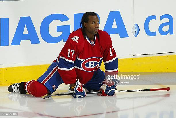 Georges Laraque of the Montreal Canadiens stretches in the warmup prior to a game against the Toronto Maple Leafs on October 1 2009 at the Air Canada...