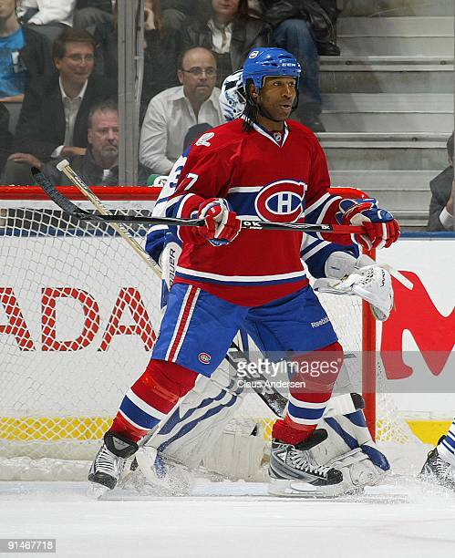 Georges Laraque of the Montreal Canadiens waits to deflect a shot in a game against the Toronto Maple Leafs on October 1 2009 at the Air Canada...