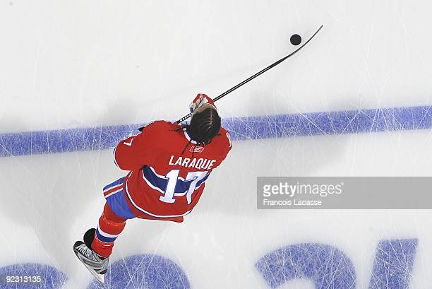 Georges Laraque of the Montreal Canadiens warms up before the NHL game against the Atlanta Thrashers on October 20 2009 at the Bell Center in...