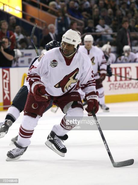 Georges Laraque of the Phoenix Coyotes skates up the ice during the Coyotes match against the Edmonton Oilers at Rexall Place on October 23 2006 in...