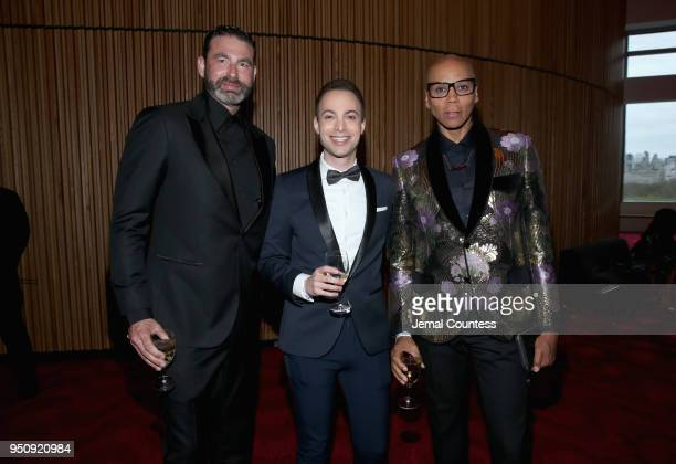 Georges LeBar TIME editor Dan Macsai and RuPaul attend the 2018 Time 100 Gala at Jazz at Lincoln Center on April 24 2018 in New York City