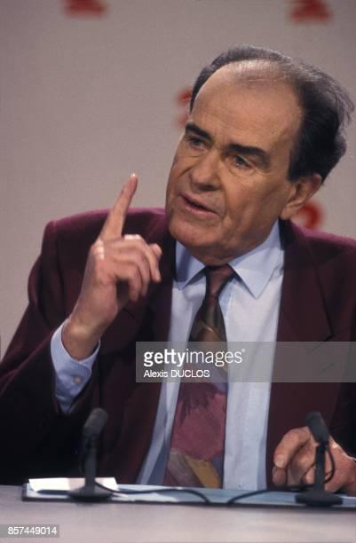 Georges Marchais a L'Heure de Verite sur Antenne 2 le 21 fevrier 1993 a Paris France
