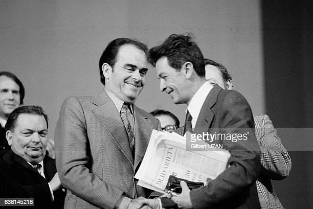 Georges Marchais et le secrétaire du Parti Communiste Italien Enrico Berlinguer lors du meeting commun PCIPCF qui a rassemblé 100 000 personnes à...