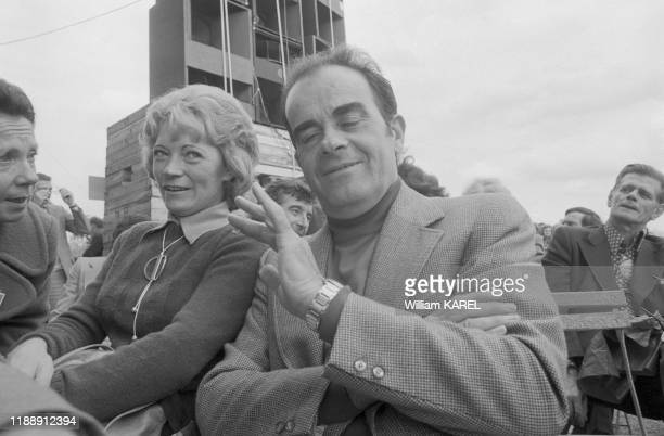 Georges Marchais et sa femme Liliane à la Fête de l'Humanité à Paris le 8 septembre 1974 France
