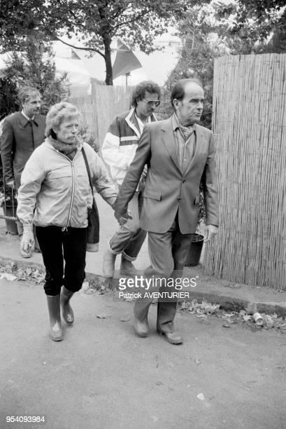 Georges Marchais et sa femme Liliane lors de la Fête de l'Humanité à La Courneuve le 11 septembre 1983 France
