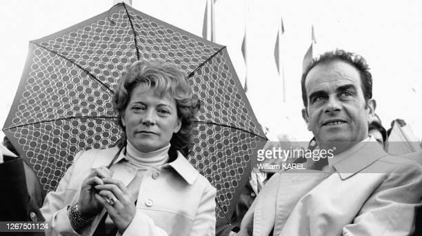 Georges Marchais et son épouse Liliane à la Fête de l'Humanité le 10 septembre 1972 à La Courneuve, France.