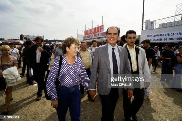 Georges Marchais et son épouse Liliane à la Fête de l'Humanité le 15 septembre 1991 à La Courneuve France