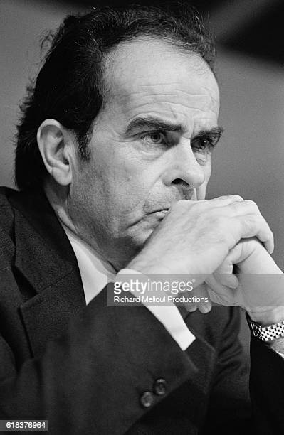 Georges Marchais listens during a Parti Communiste Francais meeting during which he addressed militants Marchais was the longtime head of the PCF...
