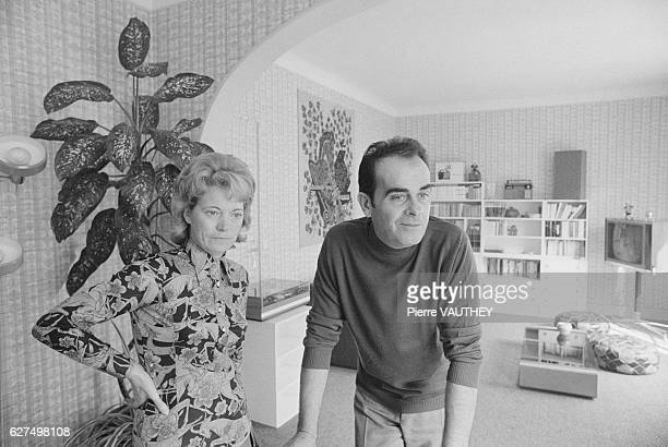 Georges Marchais Secretary General of the French Communist Party stands with his wife Liliane in their living room in ChampignysurMarne France