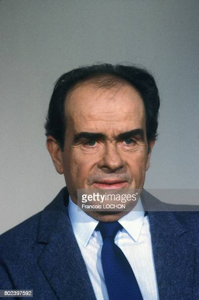 Georges Marchais secrétaire général du PCF invité à l'émission télévisée 'L'Heure de vérité' sur A2 le 25 février 1987 à Paris France
