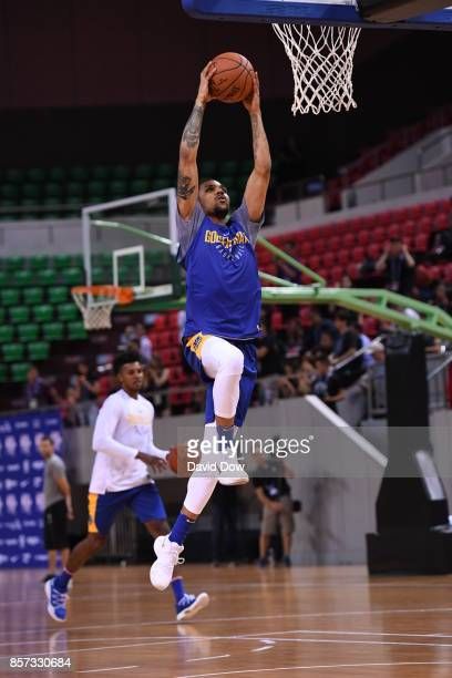 Georges Niang of the Golden State Warriors drives to the basket during practice and media availability at Shenzhen Gymnasium as part of 2017 NBA...