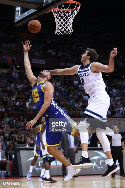 Georges Niang of the Golden State Warriors in action against Nemanja Bjelica of the Minnesota Timberwolves during the game between the Minnesota...