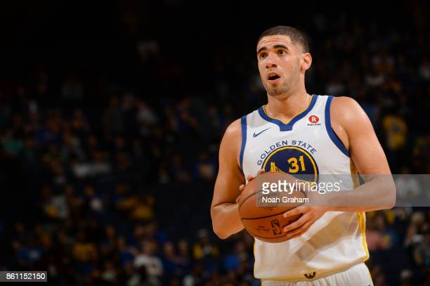 Georges Niang of the Golden State Warriors prepares to shoot the ball during preseason game against the Sacramento Kings on October 13 2017 at ORACLE...