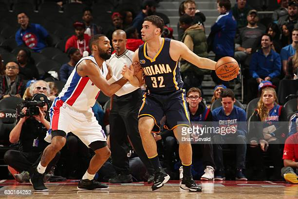 Georges Niang of the Indiana Pacers handles the ball against the Detroit Pistons on December 17 2016 at The Palace of Auburn Hills in Auburn Hills...
