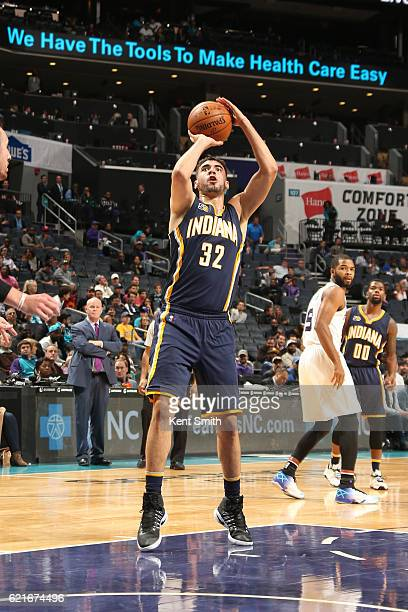 Georges Niang of the Indiana Pacers shoots the ball during a game against the Charlotte Hornets on November 7 2016 at the Spectrum Center in...