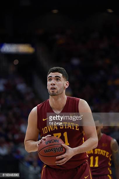 Georges Niang of the Iowa State Cyclones shoots a free throw Oklahoma Sooners during the quarterfinals of the Big 12 Basketball Tournament at Sprint...