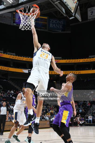 Georges Niang of the Salt Lake City Stars shoots the ball against the South Bay Lakers at vivintSmartHome Arena on February 02 2018 in Salt Lake City...