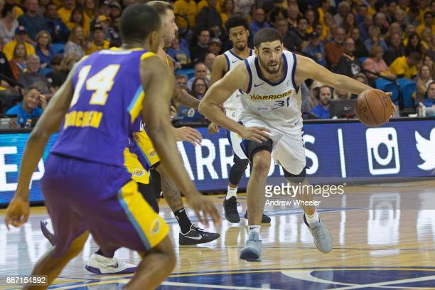 Georges Niang of the Santa Cruz Warriors dribbles the ball against the South Bay Lakers during an NBA GLeague game on November 4 2017 at Kaiser...