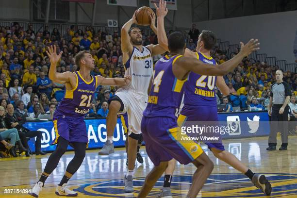 Georges Niang of the Santa Cruz Warriors passes the ball against the South Bay Lakers during an NBA GLeague game on November 4 2017 at Kaiser...