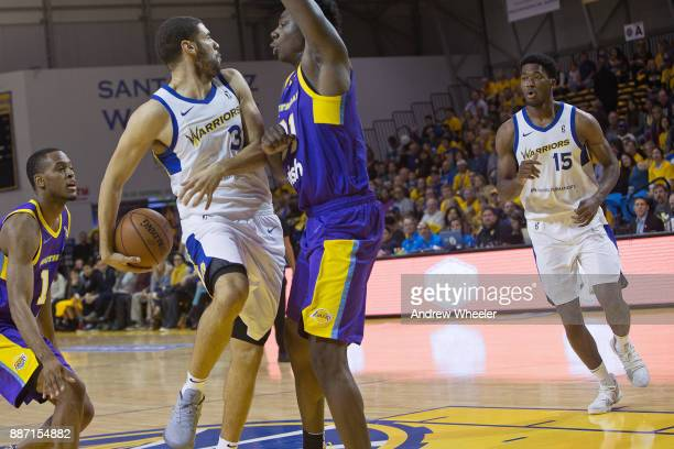 Georges Niang passes the ball to Damian Jones of the Santa Cruz Warriors during an NBA GLeague game against the South Bay Lakers on November 4 2017...