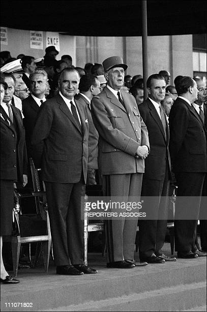Georges Pompidou Charles de Gaulle Jacques Chaban Delmas Andre Malraux at the commemorationof the victory in Paris France on August 25 1964