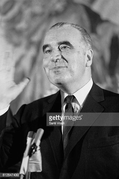 Georges Pompidou during a press conference on February 11 1970 in Washington DC Washington