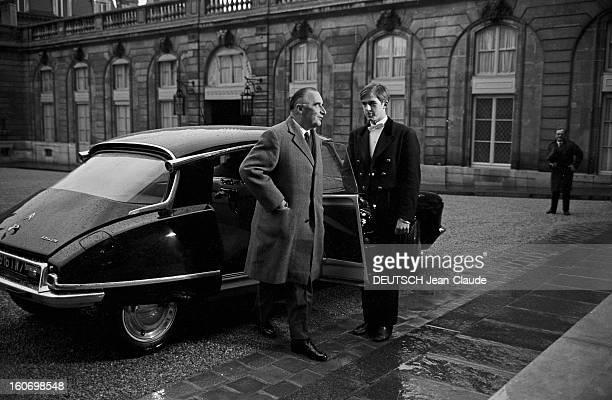 Georges Pompidou Old And New Prime Minister Arrives At Elysee Paris 6 Avril 1967 Le retour de Georges POMPIDOU ancien ministre puis nouveau ministre...