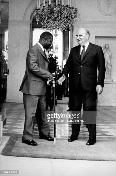 Georges Pompidou reçoit JeanBedel Bokassa au palais de l'Elysée à Paris le 5 juin 1973 France
