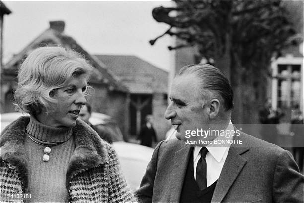 Georges Pompidou with his wife Claude In Orvilliers France In March 1967