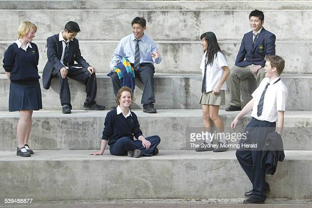 Georges River College Oatley Senior High Campus Year 11 students show off their mix and match school uniform at the college 12 August 2004 SMH...