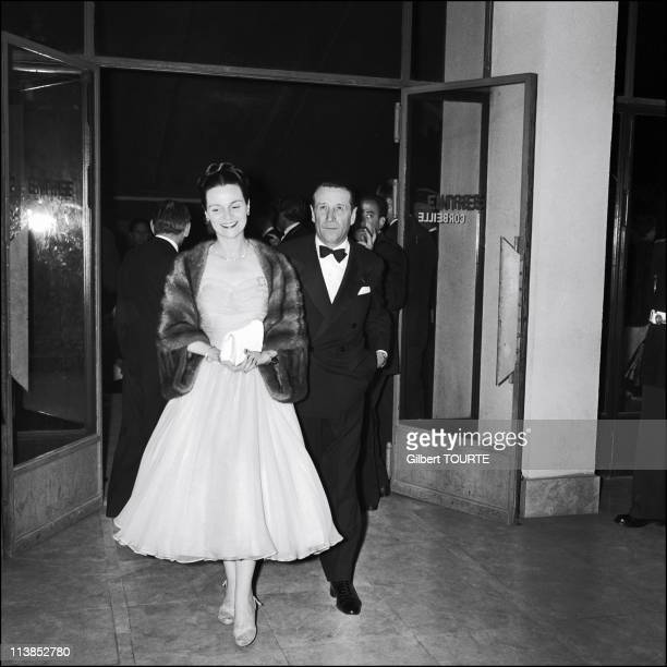 Georges Simenon with wife at Cannes Film Festival in 1957.