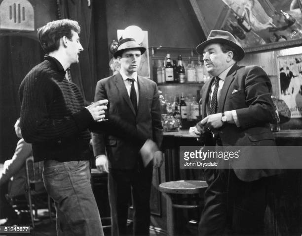 1962 Georges Simenon's Inspector Maigret played by Rupert Davies with a private eye Neville Jason question their suspect played by Anton Rodgers in a...