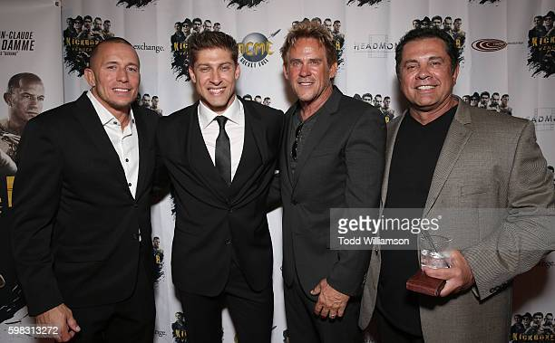 Georges StPierre Alain Moussi and Michael Dudikoff and Producer/Writer Dimitri Logothetis attend the premiere Of RLJ Entertainment's 'Kickboxer...